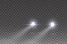 Cars Headlight Effect. Realistic White Round Flares Beams Isolated On Transparent Background. Vector Bright Train Lights For Your Design.