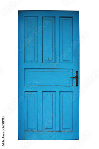 isolated old blue painted door