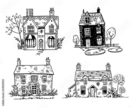 Fotomural Set of pretty English cottages, vector drawing