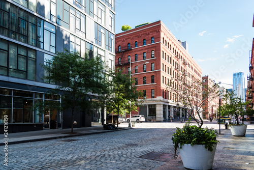 Spoed Foto op Canvas New York Street view of Tribeca in New York