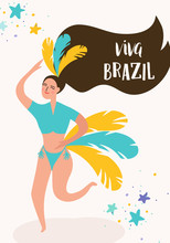 Brazil Carnival Banner With Dancing Woman. Rio De Janeiro Traditional Festival With Girl Character In Festive Costume For Invitation, Poster, Card. Vector Illustration