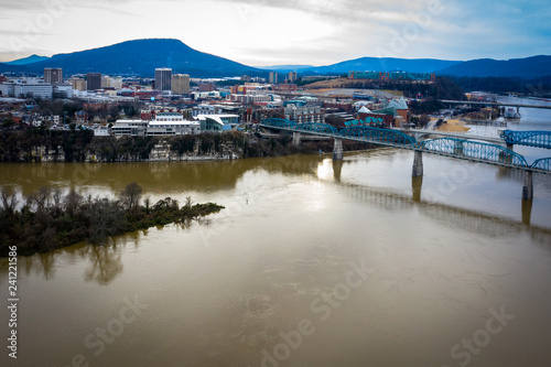 Downtown Chattanooga, TN with the Tennessee River and Walnut