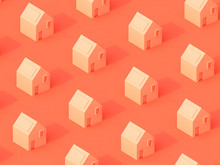 3D Abstract Background Pattern Of Coral Houses On Coral Background.  Pink Texture. Coral Background. Geometrical Texture. 3d Rendering.