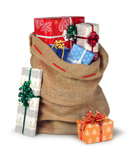 Christmas Sack Full Of Presents Isolated