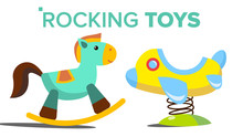 Rocking Toys Vector. Horse, Plane. Child, Kid Playground. Isolated Flat Cartoon Illustration