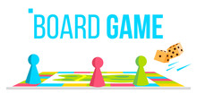 Board Game Vector. Field Space. Logical Table Game For Kids. Isolated Flat Cartoon Illustration