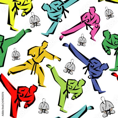 Photo Seamless Colored Pattern martial arts, karate, MMA logo presswall