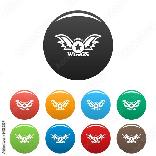 Valokuva  Wings star fighter icons set 9 color vector isolated on white for any design