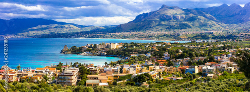 Amazing scenic Sicily - beautiful coastal town Santa Flavia. Italy