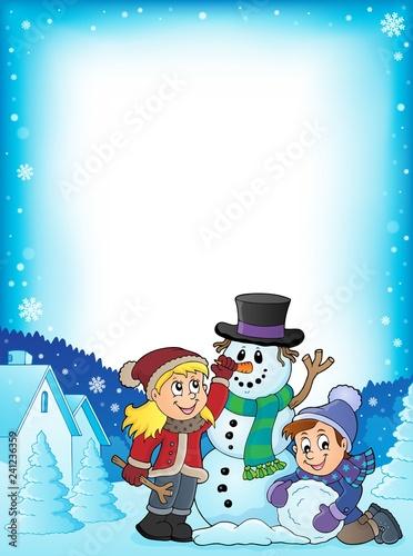 Kids building snowman theme frame 1