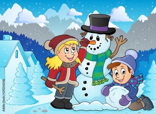 Kids building snowman theme image 2