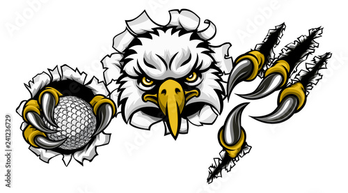 An eagle bird golf sports mascot cartoon character ripping through the backgroun Canvas Print