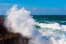 Sea Waves Hitting Rocks Cliff ...
