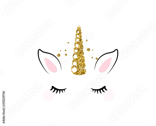 Unicorn cute vector illustration isolated on white background. Fashion girl patch with horse head, golden horn, ears and eyes Wall mural
