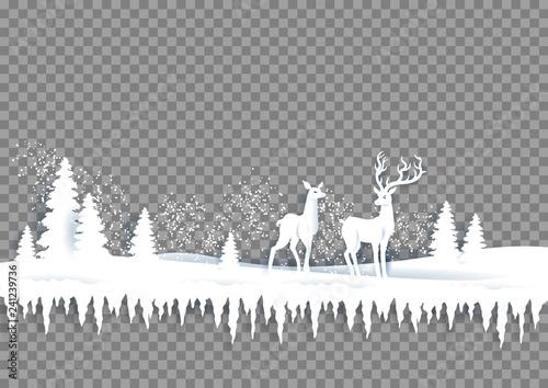 Wall mural - Winter paper landscape