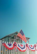White Picket Fence Patriotic USA Home