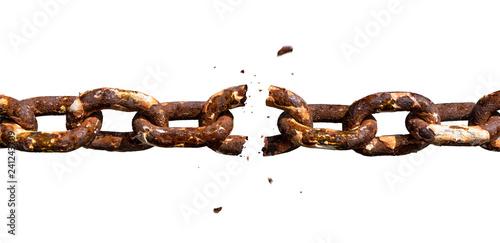 Foto Breaking rusty metal chain photomontage