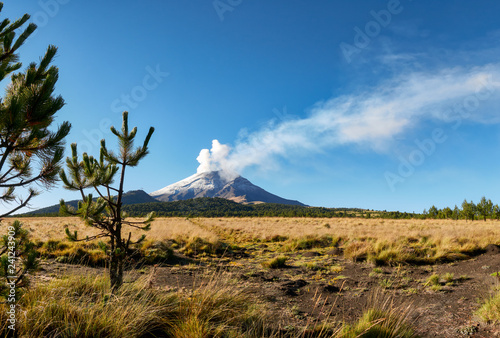 Plakat Fumarole wychodzi z wulkanu Popocatepetl widziany z Parku Narodowego Izta-Popo Zoquiapan