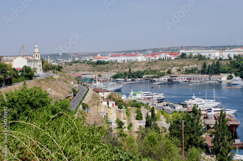 Fotografie, Obraz  Sea bay with numerous yachts and boats at the berths.