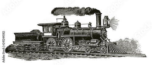 Fotomural Historical steam locomotive in full speed (after an etching or an engraving from