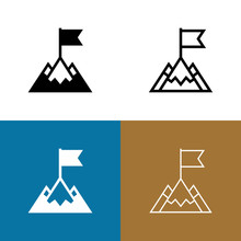 Mountain Peak With Flag Icon Set