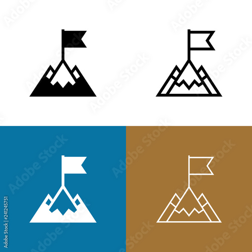 Foto  Mountain Peak With Flag Icon Set