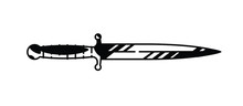 Illustration Of The Logo Of The Dagger. Vector. Painted Military Knife. Black And White Contour Graphic Drawing. Tattoo. Decorative Element For Design.