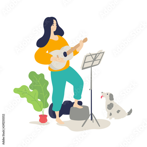 Illustration of a girl playing an acoustic guitar  Flat