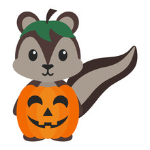Squirrel In Pumpkin Costume - Cute Woodland Squirrel Wearing Pumpkin Costume