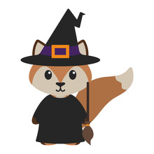 Fox In Witch Costume - Cute Woodland Fox Wearing Witch Costume