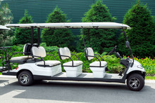 White Electric Car For Transportation Of Passengers In The Golf Club On The Background Of A Flower Bed With Evergreens And Thuja, Empty Car With White Seats And A Canopy Of Sunlight.