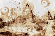 canvas print picture - Bagan Mandalay, Myanmar. Digital Art Coffee stain panting.