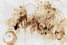 Sheep. Digital Art Coffee Stain Panting.