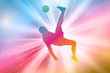 Male Soccer Player Silhouettes, Colorful, Rainbow