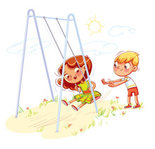 Boy Shakes The Girl On A Swing...