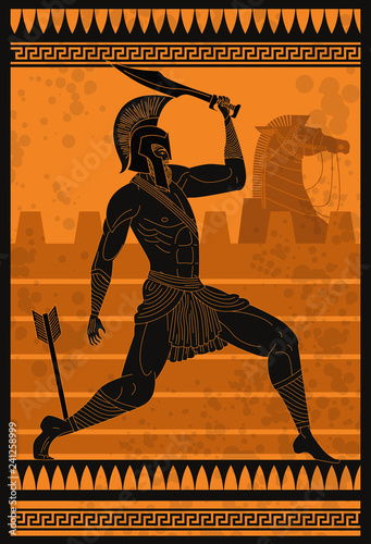 Photo achilles wounded with an arrow in troy war
