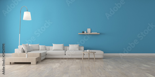 Fototapety, obrazy: View of room space with white sofa set, Blue wall and laminate floor.Perspective of modern architecture design. Sitting area. 3d rendering.