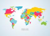 wektor kolorowych kontynentów mapy świata dla infografiki