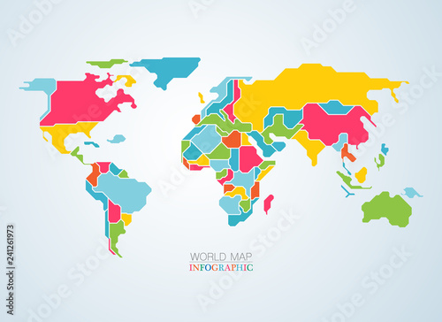 vector of colourful world map continents for infographics Wallpaper Mural
