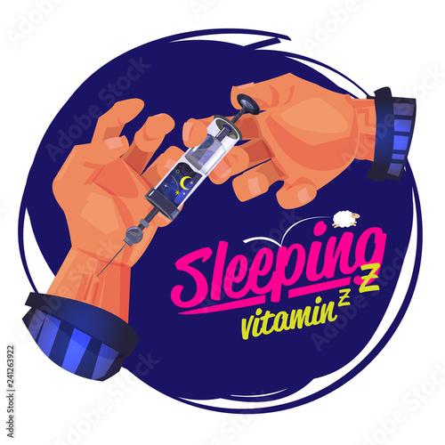 Fotografie, Obraz  man using the syring of sleep