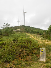 Wind Turbines Along The Camino Track On A Wet Morning - Olveiroa, Galicia, Spain
