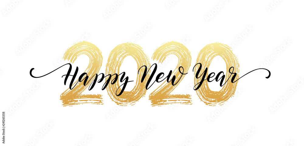 Fototapety, obrazy: 2020 Happy New Year script text hand lettering. Design template Celebration typography poster, banner or greeting card for Merry Christmas and happy new year. Vector Illustration
