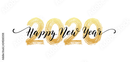 Photo  2020 Happy New Year script text hand lettering