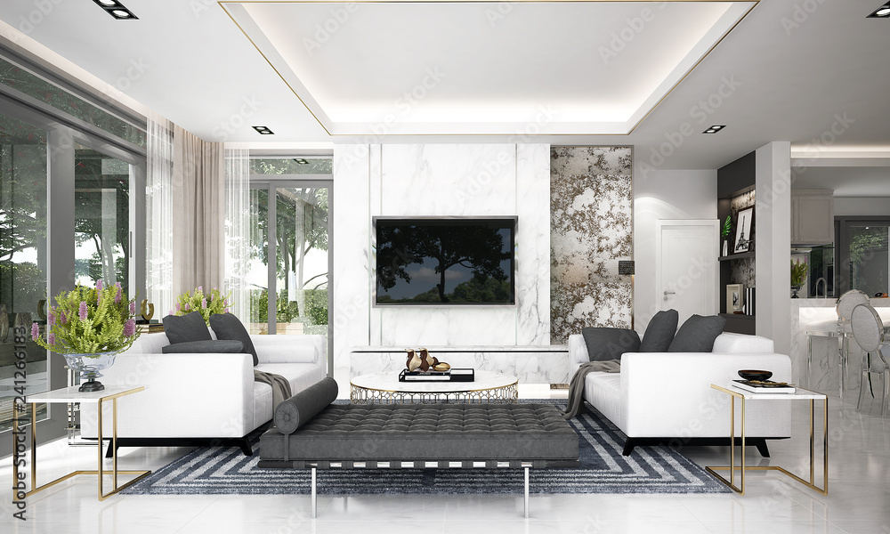 Fototapeta Modern luxury living room interior design