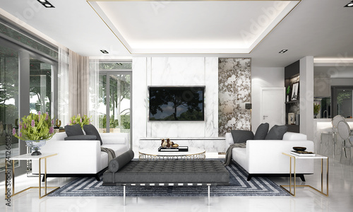 Leinwanddruck Bild - teeraphan : Modern luxury living room interior design