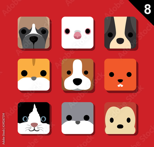 Flat Big Animal Faces Application Icon Cartoon Vector Set 8 (Pet)