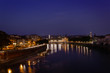View of the city Verona across the river Adige at sunset , Verona, Italy, Europe