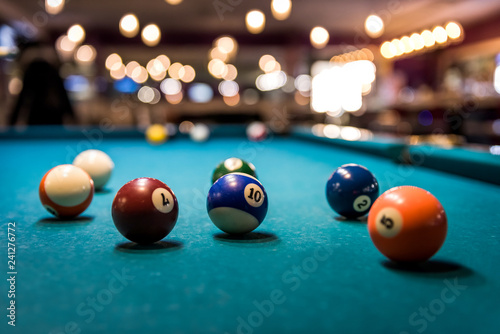 Fotografie, Obraz  Colorful billiard balls on playing table, dispersed