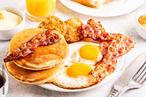 Healthy Full American Breakfast with Eggs Bacon Pancakes and Latkes Canvas Print