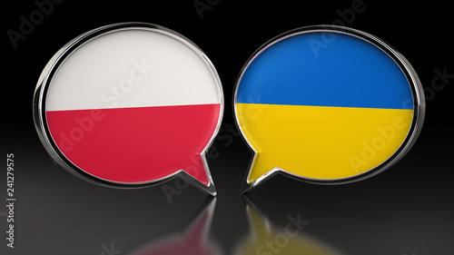 Poland and Ukraine flags with Speech Bubbles. 3D illustration